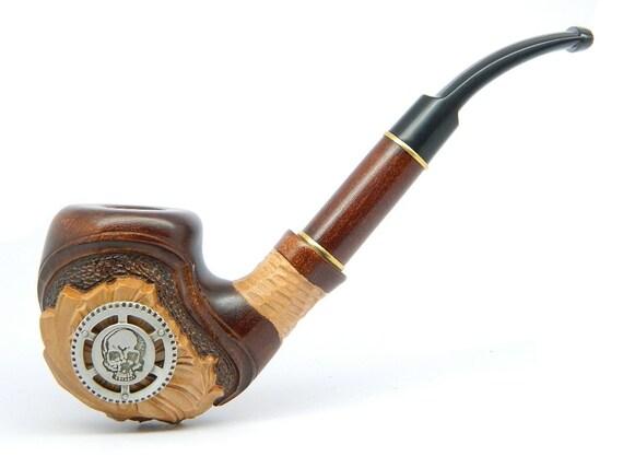 Tuyau de fumer du tabac « Steampunk Pirate de l'Air crâne » sculpté de bois de Poirier, grande collection + pochette