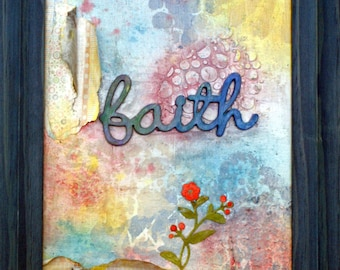 FAITH Handpainted Mixed Media Painting Art 9X12 Framed