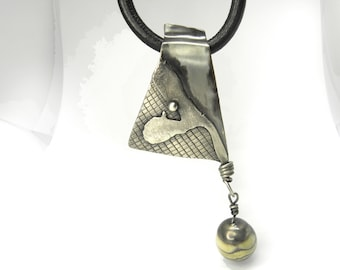 UNIQUE statement sterling silver oxidized art pendant with jasper bead, gift for her