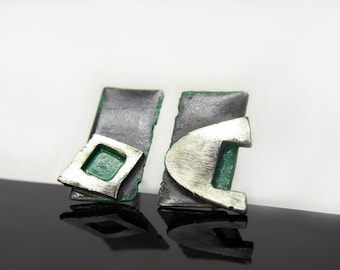 mismatched silver earrings with black and green patina, geometric atisan jewelry, handmade women birthday gift, Croatian
