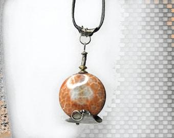 UNIQUE agate pendant, silver, brass handmade artisan statement jewelry, designer, orange, black, birthday gift for wife, gift for her