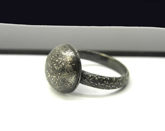 blackened silver ring, handmade women modern jewelry, industrial dome geometric ring, reticulation, textured, simple, artisan, modernist
