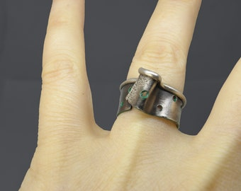 UNIQUE silver ring, adjustable with green patina, croatian jewelry, artisisn rustic organic