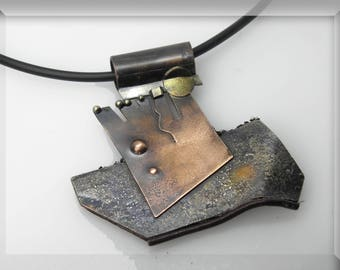 UNIQUE pendant, copper, silver,  Contemporary unique sculptured , mixed metal, gift, designer, artistic, statement jewelry