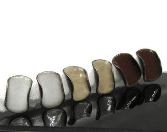 1.6×1 cm enamel earrings, copper oval stud, white, beige, brown, designer jewelry, birthday gift for mum, Christmas gift, simple, minimal