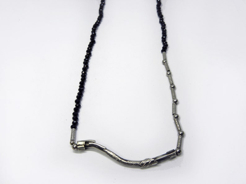 UNIQUE necklace sterling silver black spinel stone women image 1
