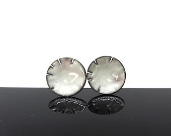 1.5 cm enamel stud earrings, copper, silver, everyday earrings, boho, round, dome, birthday small gift for her, circle earrings, white