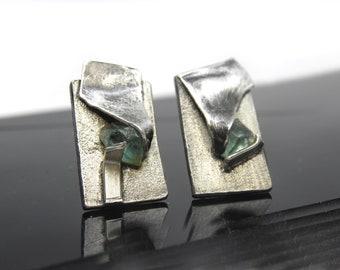 UNIQUE apatite silver stud earrings, women artisan jewelry, mismatched earrings