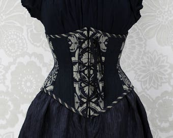 Steampunk Front and Back Lacing Steel Boned Waspie Corset -- Black & Silvery Beige -- Size 34