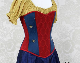Wonder Woman Inspired Sweetheart Overbust Corset - Solid Front, Red, Blue, & Gold - Corset Size 29, Best Fits Waist 32