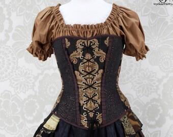 Steampunk Renaissance Overbust Corset - Front Laces/Silk Trim, Black & Dark Russet - Corset Size 30, Best Fits Waist 33
