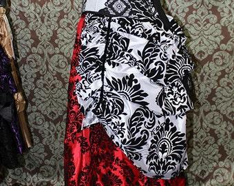 Steampunk Siren Bustle Overskirt --  Custom Made to Your Length Preference in Velvet Damask Taffeta -- Fits up to 50