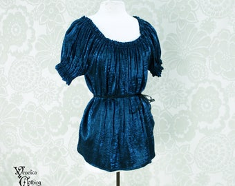 Steampunk Renaissance Cora Chemise in Teal Crinkled Shimmer Satin -- Custom Made in Your Size