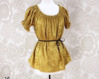 Steampunk Renaissance Cora Chemise in Gold Crinkled Shimmer Satin -- Custom Made in Your Size