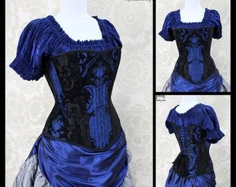 Steampunk Renaissance Black & Blue Steel Boned Corset - You Choose Your Corset Style - Custom Sized