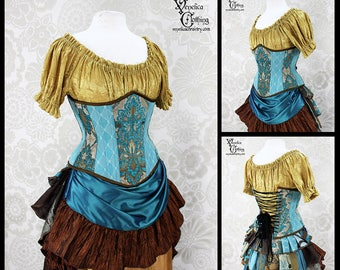 Steampunk Renaissance Teal, Turquoise, and Copper Steel Boned Corset - You Choose Your Corset Style - Custom Sized