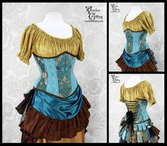493f6af8fa Steampunk Renaissance Teal Turquoise and Copper Steel Boned