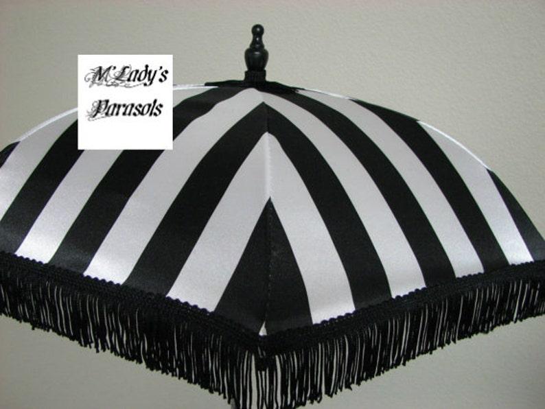Make a Victorian Carriage Parasol VICTORIAN PARASOL Umbrella in Elegant Black and Pure White Stripe Satin and Black Fringe Sun Parasol Shower Sun Shade Steampunk Bridal Goth $79.00 AT vintagedancer.com