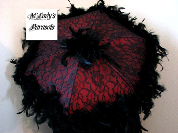 Victorian Parasol Umbrella In Deep Red Satin Black Lace Etsy