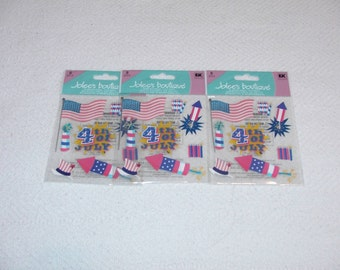 Three (3) Packs 4th of July/Red White & Blue Embellishments/Stickers - 8 Pieces Each Pack