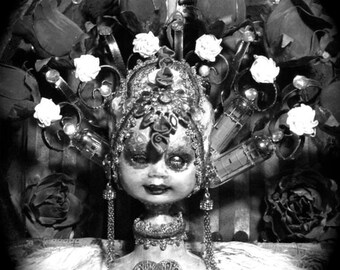 """Photographic 8"""" x 10"""" B/W detail print of my mixed media assemblage piece """"Andalusia Rose"""""""
