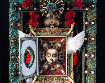 """Photographic 8"""" x 12"""" detail print of my mixed media assemblage piece """"Ethyl My Love, The Eternal Truth Serum"""""""