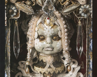"""Photographic 8"""" x 10"""" detail print of my mixed media assemblage piece """"Madonna and Child"""""""