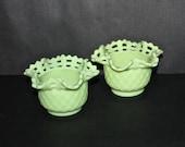 Pair Vintage Fenton Lime Sherbet Basket Weave bowls