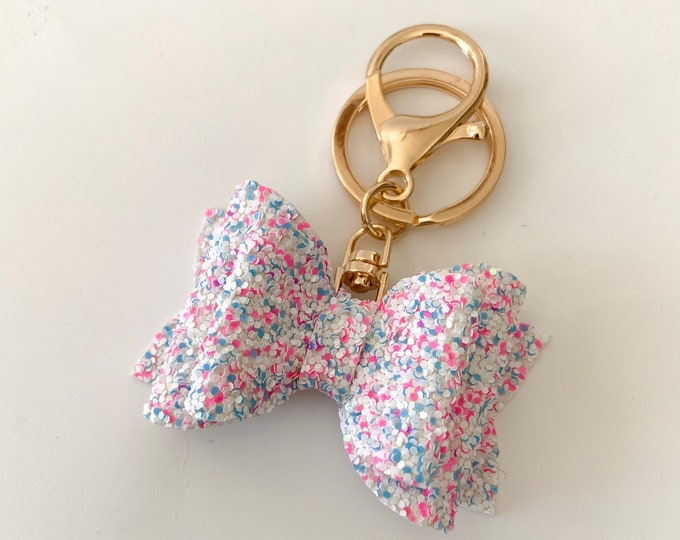 Cotton Candy Glitter Bow Keychain Bow Keychain Faux Leather Bow