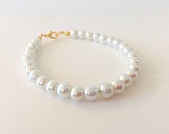 7b4498fbcd72d White pearl bracelet   Etsy