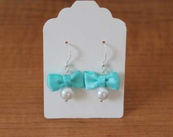White Pearl and Robins Egg Blue Bow Earrings