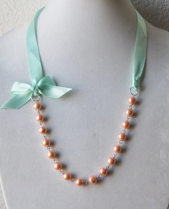 Peach Pearl Necklace: Peach Pearl And Mint Green Ribbon Bow Necklace