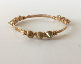 Gold Spike Wire Wrapped Bangle Bracelet