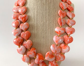 Coral Heart Chunky Statement Necklace, Coral Statement Necklace