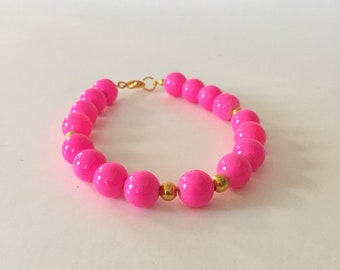 Neon Pink and Gold Beaded Bracelet
