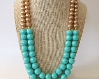Turquoise and Gold Chunky Statement Necklace