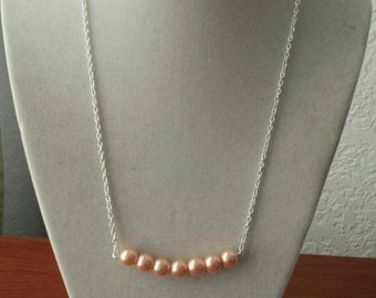 Peach Pearl Bar Necklace