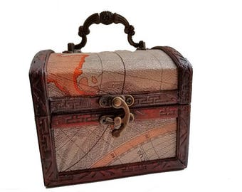 Wood Trunk - Map box, men's valet box, travel wedding, wood purse, treasure chest, small wood chest, keepsake box, small jewelry box