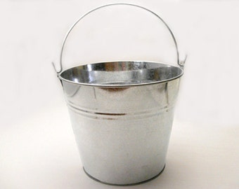 Galvanized Bucket 5 Inch Silver Metal Stainless