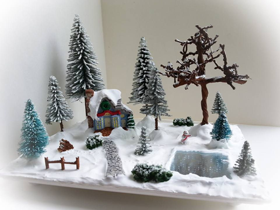 miniature christmas village scene miniature christmas etsy - Miniature Christmas Decorations