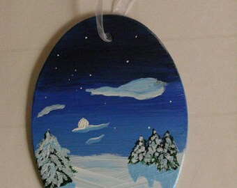Winter Ornament - Handpainted glass Christmas ornament, winter decor, glass art, original art, winter landscape painting