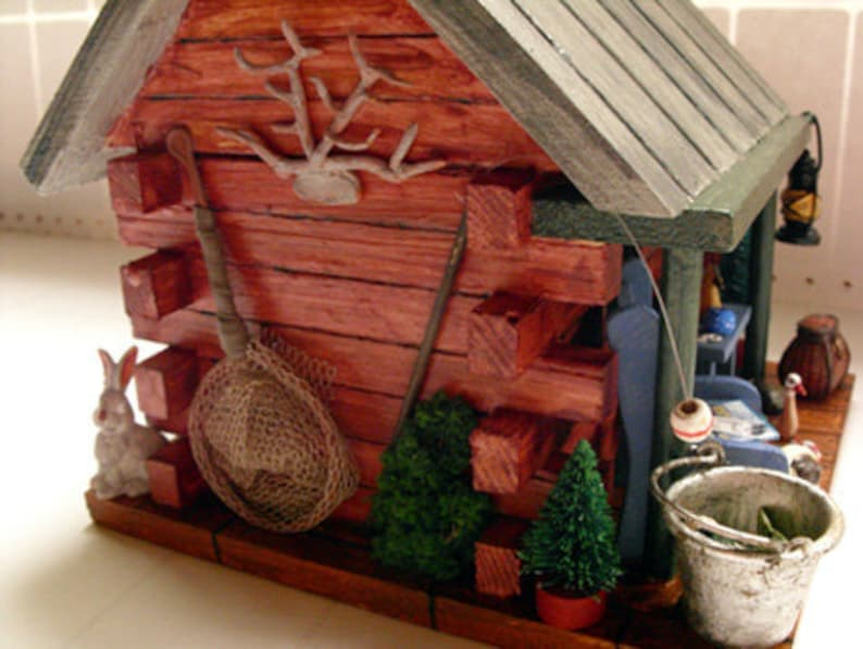 Log Cabin Birdhouse Fishing Amp Hunting Camp With Duck