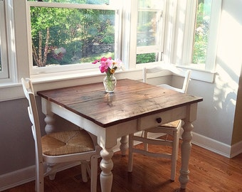 The Petite Farmhouse Table Handmade with Reclaimed Barn Wood with Optional Drawer