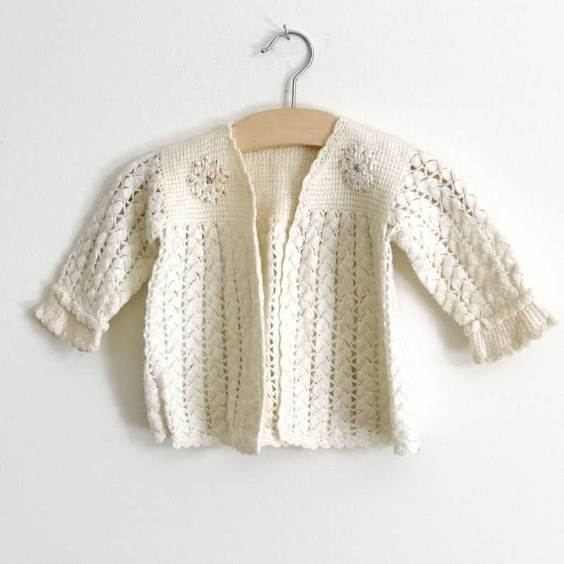 7931b077b38c Knitted Infant Baby Sweater Creamy White Baby Boy or Girl