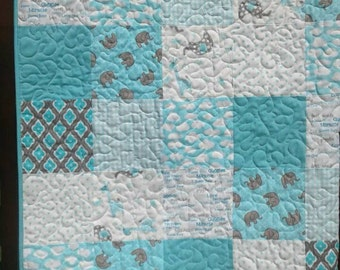 Baby Elephant quilt, teal gray, white,Baby bedding, quilt,patchwork Crib quilt,toddler,clouds,elephants and giraffes.