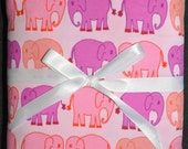 Large Designer Receiving Swaddle Blanket - Valori Wells Bliss Elephant March Ruby Pink- 33 x 33 inches