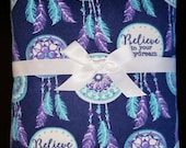 Extra Large Receiving Swaddle Blanket - Believe In Your Daydreams 40 x 40 inches