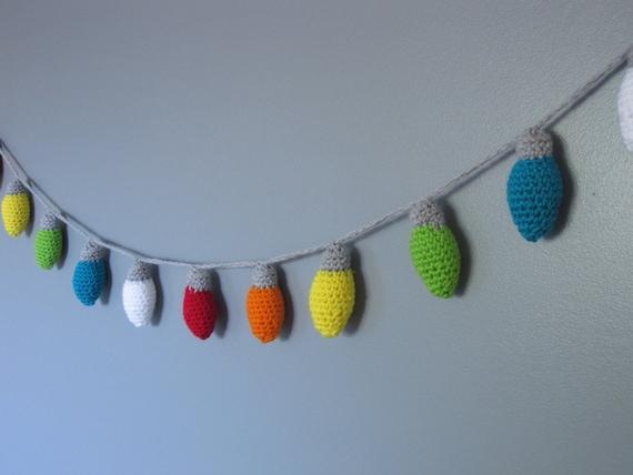 Crochet christmas lights string of lights christmas garland etsy