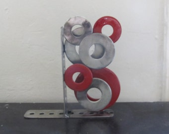 SALE!!  Rings of Silver and Red Bookend