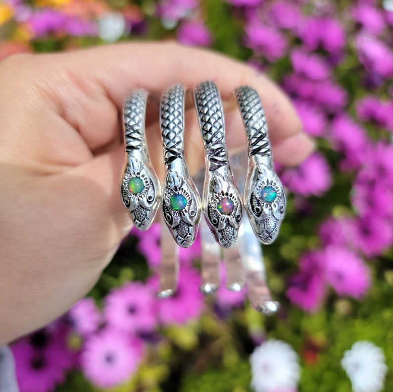 Snake Cuff Bracelet with Opal